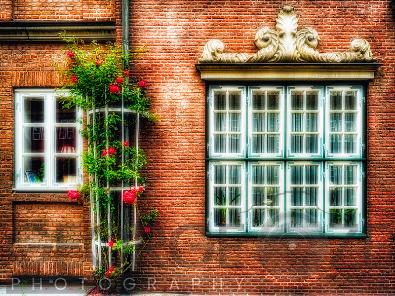 Traditional German Windows in a Brick Building, Old Hamburg, Germany