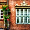 Traditional German Windows in a Brick Building, Old Hamburg, Germany
