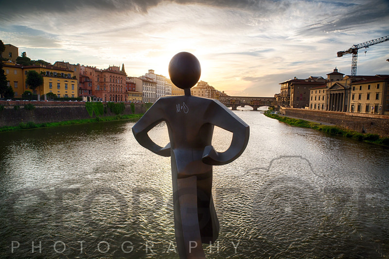 Clet Abraham sculpture of the Common Man on the Ponte Alle Grazie, Florence, Tuscany, Italy
