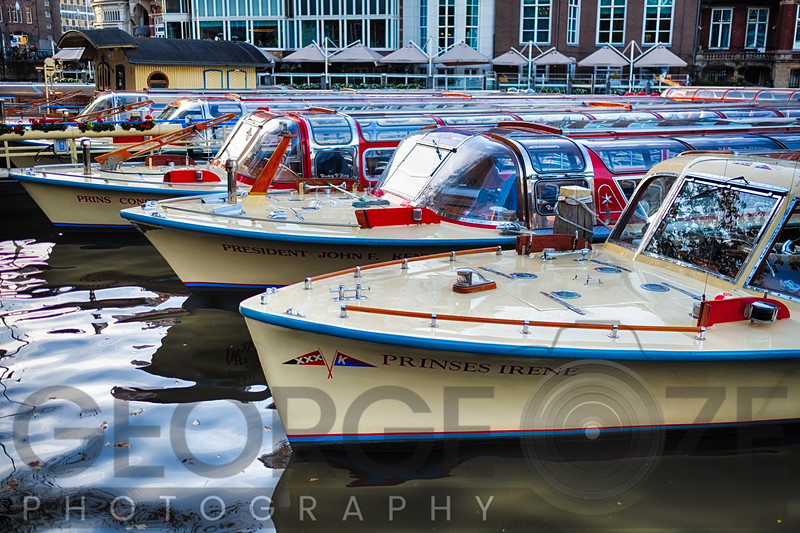 Classic Motorboats Lined Upa in a Pier, Amsterdam Netherlands