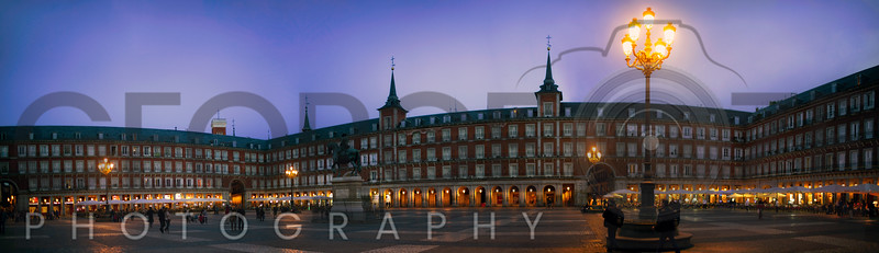 Night Panorama of Plaza Mayor, Madrid, Spain