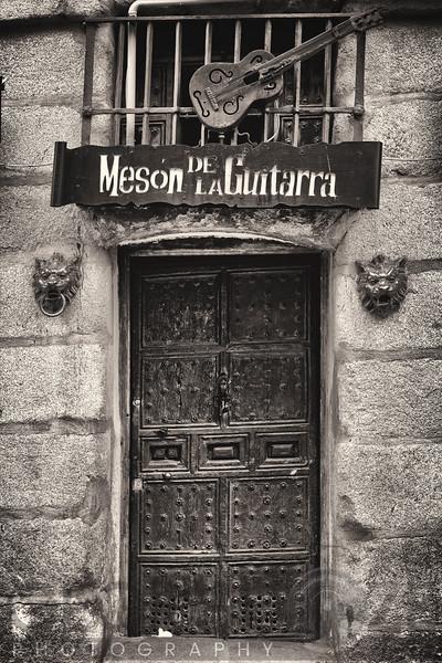 Entrance View of the Guitar Inn and Tapas Bar, Cava de San Mugule Street, Madrid, Spain