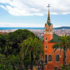 High Angle View of  the Gaudí House Museum, Park Guell, Barcelona, Catalonia, Spain