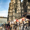 Low Angle View of Horse-Drawn Carriages at The St Stephens Cathedral, Vienna, Austria