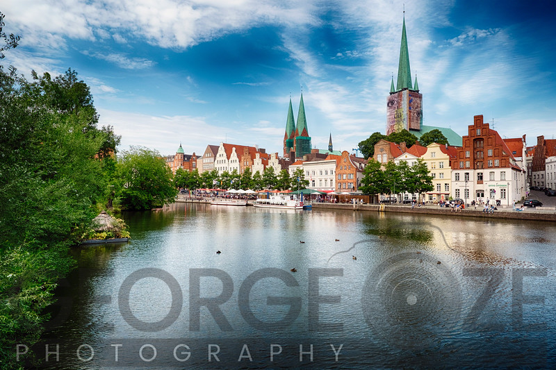 Wtarfornt View of Old Town Lubeck, Germany