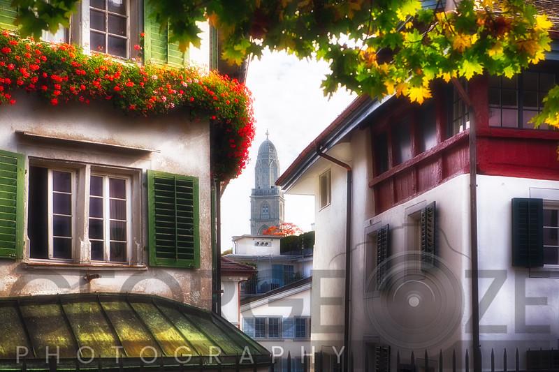 Scenic Street Scene in Old Town Zurich, Switzerland