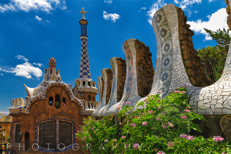 Entrance Pavilion View at Park Guell, Barcelona, Catalonia, Spain