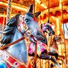 View of Horses on a Classic Carousel, Rome, Italy