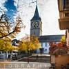 St. Peterhofstatt Plaza  with The Saint Peter's Church, Zurich, Switzerland