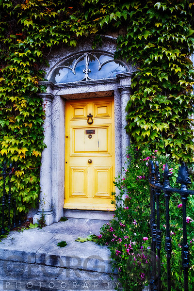 Ivy Around a Traditional Victorian Style Entrance Door, Kinsale, County Cork, Republic of Ireland