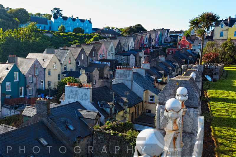 High Angle View of Colorful Row Hoauses in Cobh, County Cork, Munster, Republic of Ireland