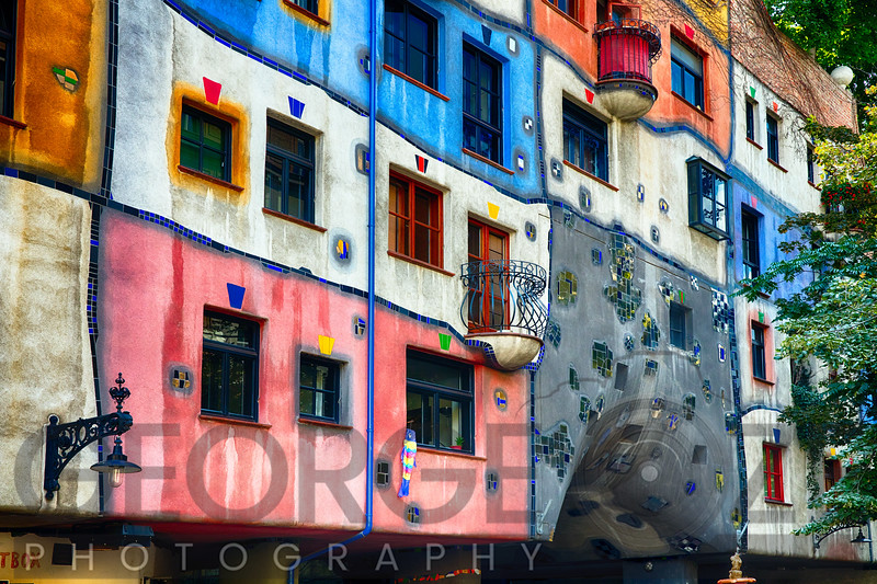 Colorful Impressionistic Architecture of the Hundertwasser House, Vienna, Austria.
