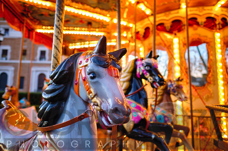 Close Up View of Horses on a Classic Carousel, Rome, Italy