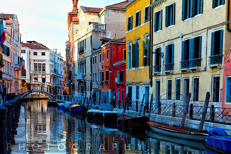 Colorful Houses Along a Canal Santa Croce, Venice Veneto, Italy