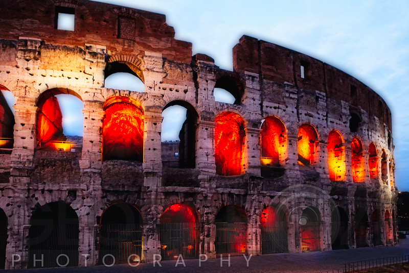 Glowing Arches of the Colosseum, Rome, Lazio, Italy