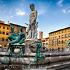 Low Angle View of the Neptune Fountain on Piazza Della Signoria, Florence, Tuscany, Italy