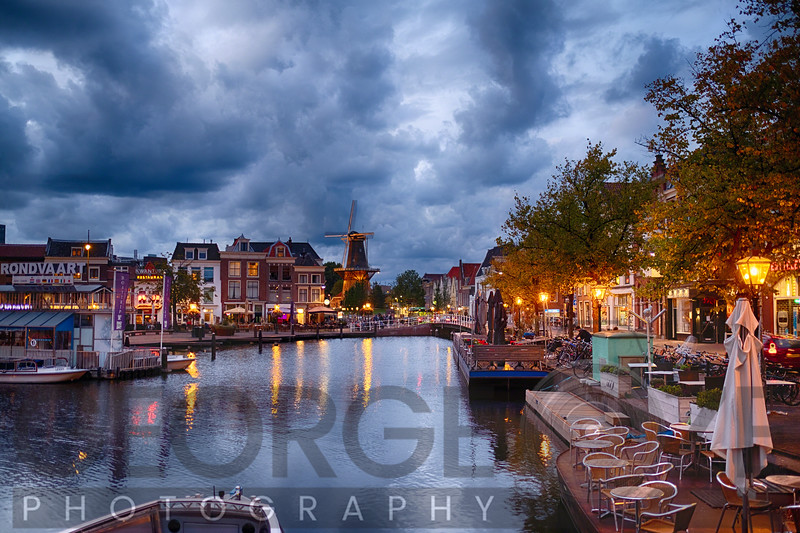 Canal and Windmill in Leiden at Night, Netherlands