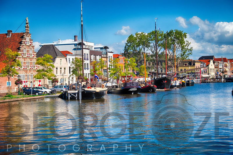 Canal woth Old Ships Leiden, Netherlands