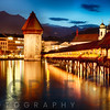 The Chapel Bridge Illuminated at Night over the Reuss River, Lucerne, Switzerland