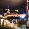Footbridge Over the Saone River at Nght, Lyon, France