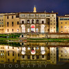 Night Reflection of the Uffizi Gallery in the Arno River, Florence, Tuscany, Italy