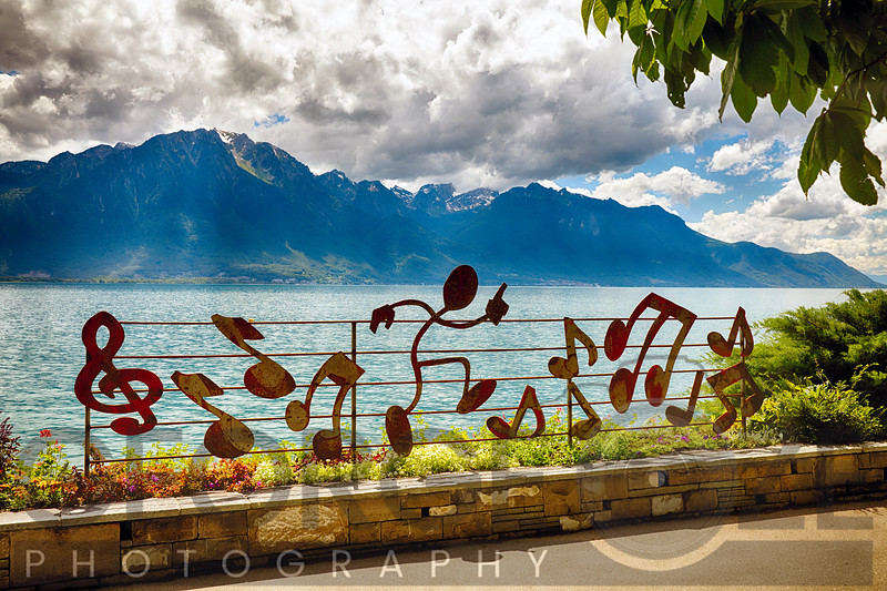 Lake Geneva Shoreline at Montreux, Switzerland