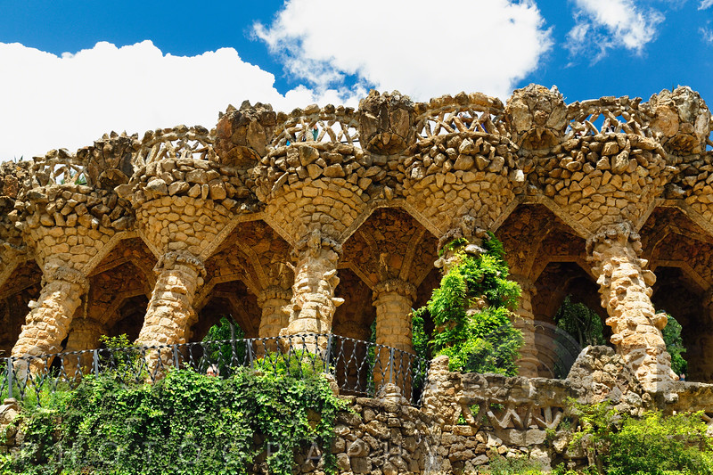 Low Angle View of Stone Columns Supporting a Pathway, Park Guell, Barcelonma, Catalonia, Spain