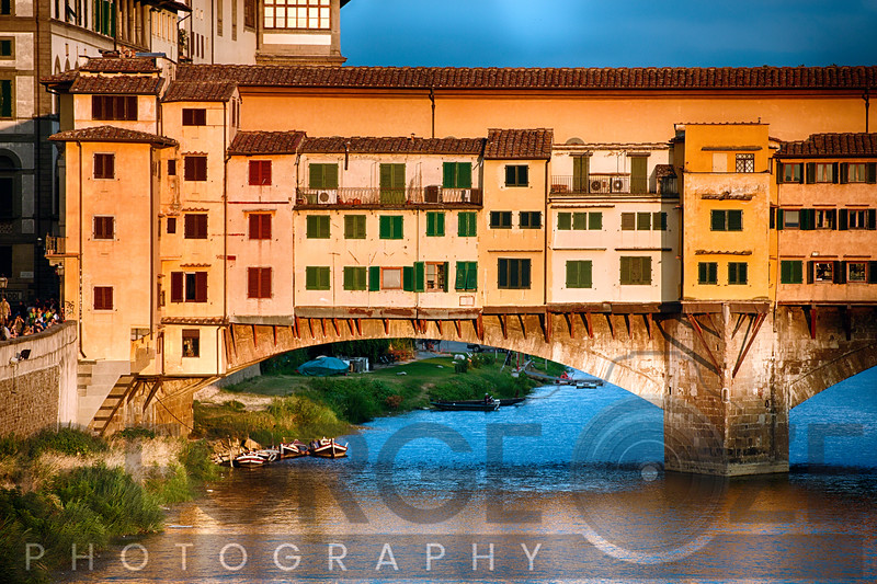 Close Up View of Ponte Vecchio Over the Arno River at Sunset, Florence, Tuscany, Italy
