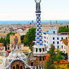High Angle View of  the Gatehouse with White and Blue Tower, Park Guell, Barcelonma, Catalonia, Spain