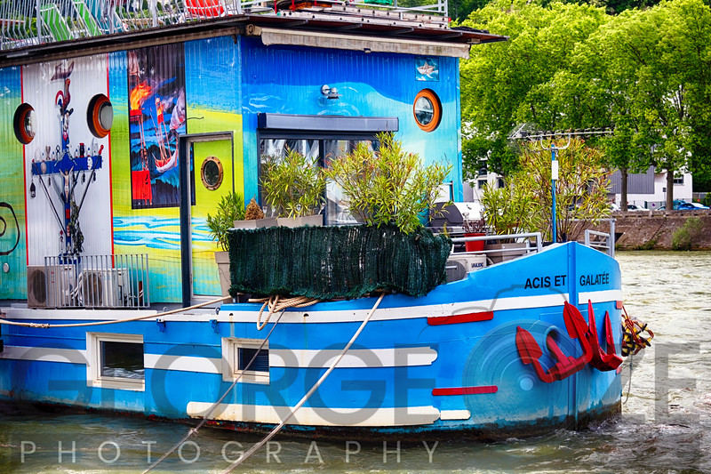 Colorful Houseboat on the Saone River, Lyon, France