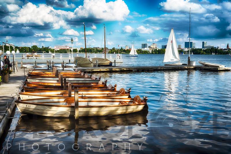 Small Row Boats at a Pier, Alster Lake, Hamburg, Germany