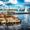 Small Row Boats at a Pier, Alster Lake, Hamburg, Germany