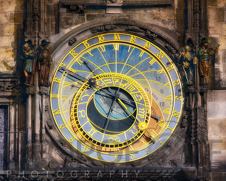 Close Up View of the Prague astronomical clock, Czech Republic