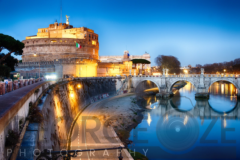 Castle Of The Holy Angel Lit Up at Dusk, Rome, Lazio, Italy