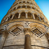 Looking up to the Leaning Tower of Pisa, Italy