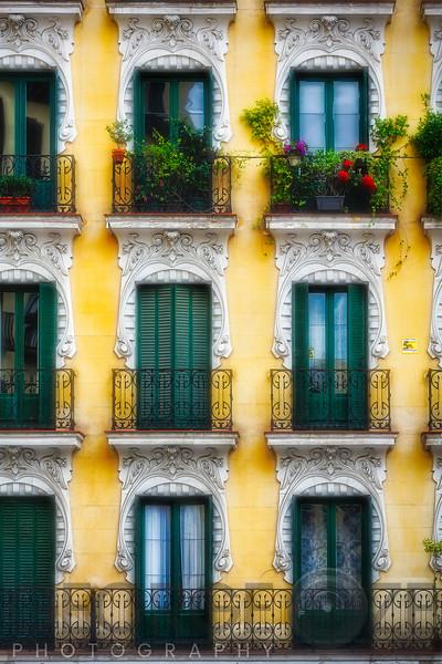 Colorful Balconies in Madrid, Spain