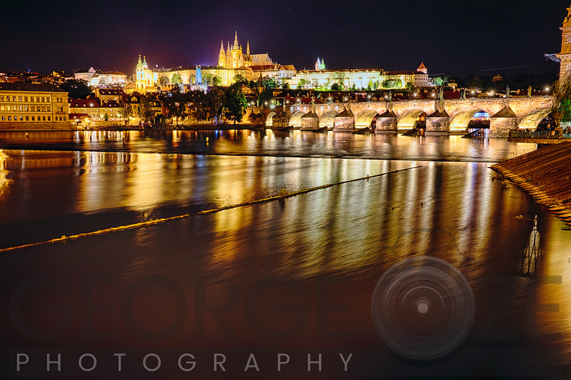 Old Town Prague Night Scenic with the Charles Bridge ang Castle District