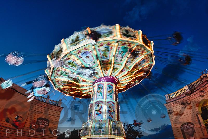 Evening Chain Swing Ride,, Prater Amusement Park, Vienna, Austria