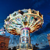 Evening Chain Swing Ride,, Prater Amusement Park, Vienna, Austria