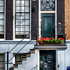View of a Traditional Dutch House Entrance in Amsterdam, Netherlands