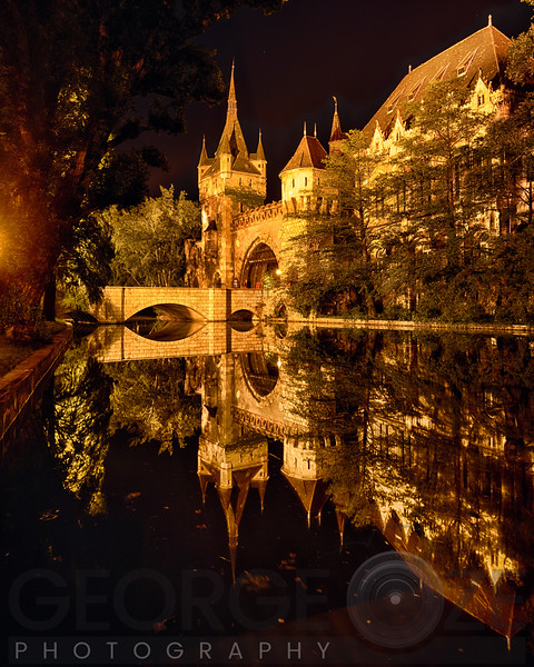 Reflections of a Castle in a Lake at Night, Budapest, Hungary
