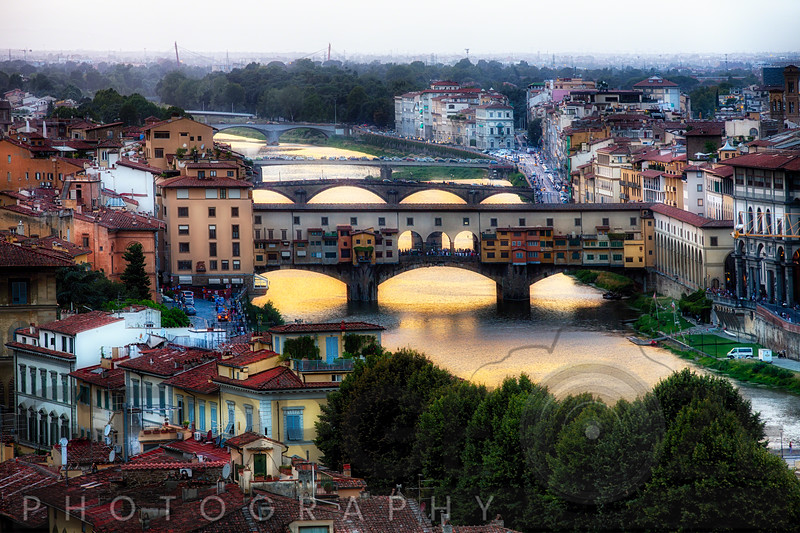 High Angle View of the Bridges Over the Arno River, Florance, Tuscany, Italy
