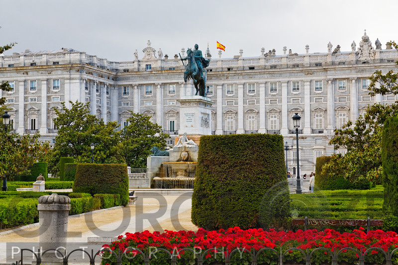 Park with the  Equestrian Statue of King Philip IV,  Plaza de Oriente, Madrid, Spain
