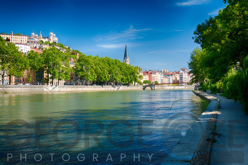 Old Lyon Viwed from The Saone River Walkway, France