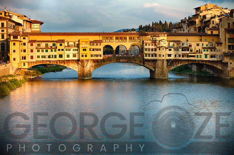 Golden Light on Ponte Vecchio, Florence, Tuscany, Italy