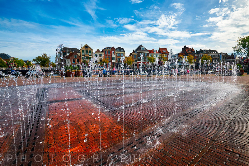 Water Fountain in Downtown Leiden
