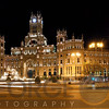 Low Angle Night View of the Cibeles Palace and Fountain, Plaza de Cibeles, Madrid, Spain