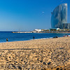 View of the Barceloneta Beach with the W Hotel, Barcelona, Catalonia, Spain