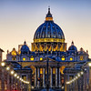 View of the Papal Basilica of St Peter's at Night