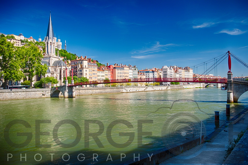 Footbridge Over the Saone River, Lyon, France